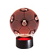GYDD Luz de la Noche 3D Colorido Control Remoto Touch Reading Led Lámpara de Mesa de Regalo Real Madrid Football Lights (Color : Touch and Remote)