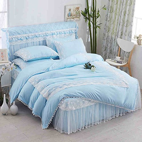 Bettwäsche-Sets Mädchen Queen Bett Set Mit Tröster Blue Lace Bettbezug Blätter Kissenbezug (Queen-blatt Set Mit Bettdecke)