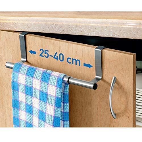 ArtMoon Spread | Porte-serviettes pour dessus de portes | Support pour serviettes, chiffons, torchons en acier inoxydable | Largeur extensible 25 - 40 cm | Protection portes |Dimensions : 25/40x8x9 cm