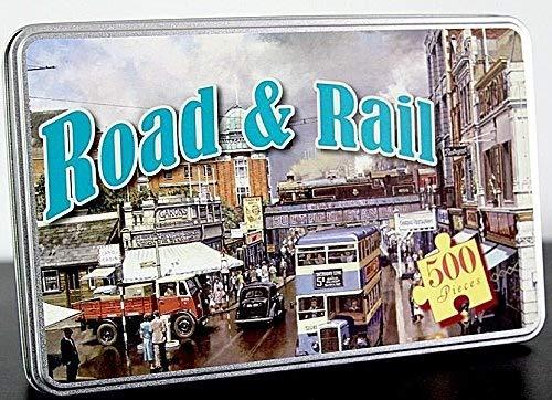 Unbekannt Robert Frederick 500-teiliges Puzzle in eine Flache gebürstet Zinn–Road & Rail, Sortiert
