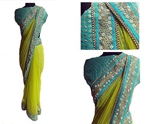 Sarees ( Green Color Naylon Mono Net Fabric Multiwork Saree, New Arrival...