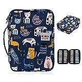 BTSKY Grande capacité de 220 crayons de couleur - Trousse étanche à motif dessin animé avec poignée portable, sac de rangement pour dessin, peinture et papeterie Emoticon Cat