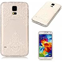 For Galaxy S5 Case [Non-Slip],Vandot [Drop Protection] Ultra THIN Lightweight Premium Soft TPU Silicone [Crystal Clear] Snap-on Exact Fit with NO Bulkiness Case for Samsung Galaxy S5 I9600 G900-White Lace Flower
