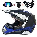 XBTIC Fuera de Carretera Casco Motocross Quad Crash Casco ECE Descenso Dirt Bike MX ATV Adulto Moto Casco Guantes, Gafas, máscara de 4 Piezas Conjunto (Matt Negro + Azul),L
