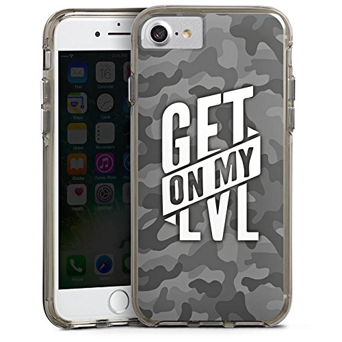 Apple iPhone 8 Hülle Premium Case Cover Montanablack Fanartikel Merchandise Get On My Level Gray Bumper Case transparent grau