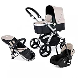 Kinderwagen Set MAGICA mit Babyschale 3 in 1 Kombi Kinderwagen Sand