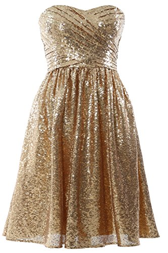 MACloth Women Strapless Sequin Short Bridesmaid Dress Cocktail Party Formal Gown Gold