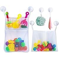 Preisvergleich für Badewannenspielzeug Aufbewahrung Badespielzeug Netz mit 6 Ultra Strong Hooked Saugnäpfe,Badenetz für Spielzeug,großes Badespielzeug Aufbewahrung für Kindern & Babys, Befestigung ohne Bohren