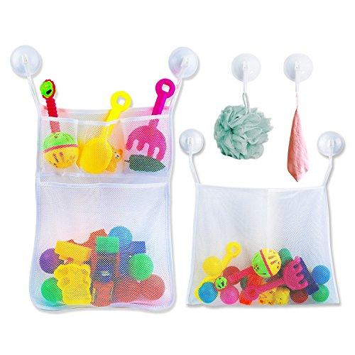 Badewannenspielzeug Aufbewahrung Badespielzeug Netz mit 6 Ultra Strong Hooked Saugnäpfe,Badenetz für Spielzeug,großes Badespielzeug Aufbewahrung für Kindern & Babys, Befestigung ohne Bohren