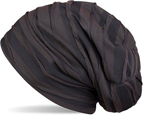 styleBREAKER klassische Beanie Mütze mit Falten Muster, Longbeanie, Unisex 04024053, Farbe:Anthrazit-Grau gestreift (One Size)