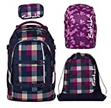 satch pack by ergobag 4er Set Schulrucksack + Sportbeutel + Schlamperbox Berry Carry & Regencape Purple