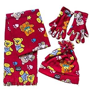 ALASKA Fleece 3 tlg Kinder-Winter-Spaß-Set für Kinder mit Mütze, Handschuhe und Schal in Rot mit Bärchen