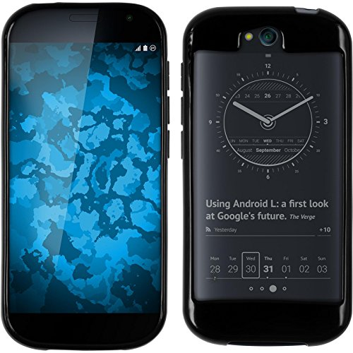 PhoneNatic Yota Yotaphone 2 schwarz Silikon Hülle mit 2 Schutzfolien klar