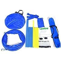 PawHut Set Entrenamiento Agility Agilidad Perros Salto Tunel y Slalom Azul Amarillo NUE