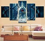 UGHJB Leinwanddrucke HD 5 Die Schöne Und Das Biest Malerei Rote Rose Blume Leinwanddruck Poster Moderne Wohnkultur Wandkunst Wohnzimmer Bild