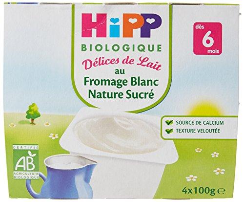 hipp-biologique-dlices-de-lait-fromage-blanc-nature-sucr-ds-6-mois-24-coupelles-de-100-g