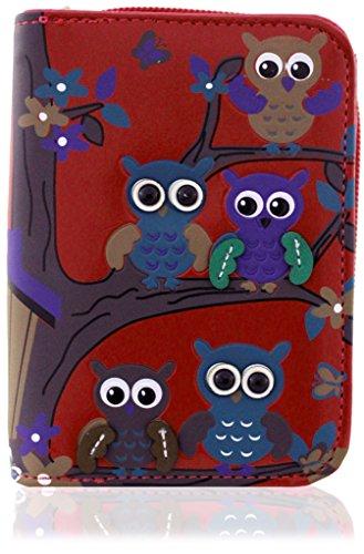 KukuBird 34D Owl Family Tree On Branches Pattern Medium Ladies Purse Clutch Wallet RED