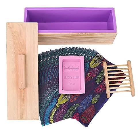 TTLIFE Rectangulaire Moule à savon en silicone avec boîte en bois et bois couvercle avec 2 trous de presse, 2 pièces en bois de moule en silicone et d'une porte savon rose