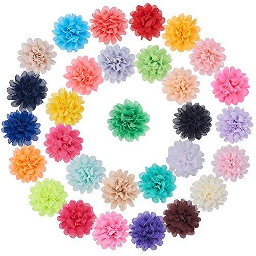 (nbeads 30Stück von Handgemachter Chiffon Stoff Blumen 11,2cm Kostüm Zubehör für Headbands, Hochzeiten und andere DIY Handwerk, gemischt Farbe)