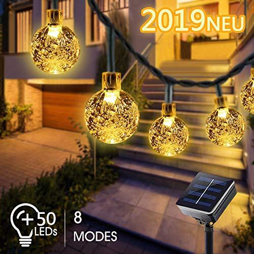 Solar Lichterkette außen, Bosunny 50er LED Kugeln Lichterkette 7M Kristall Warmweiß, 8 Modi IP65 Wasserdicht Lichterkette, Bäume, Weihnachten, Hochzeit, Party, Indoor und Outdoor