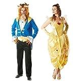 hommes et Femmes Couples Conte De Fée Belle Disney Belle et la bête déguisement costume déguisement - Multicolore, Ladies UK 16-18 & Mens XL