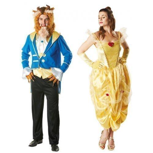 Erwachsenen Disney Outfits (Herren & Damen Paar Märchen Belle Disney die Schöne und das Biest Kostüm Verkleidung Outfit - Mehrfarbig, Ladies UK 16-18 & Mens)