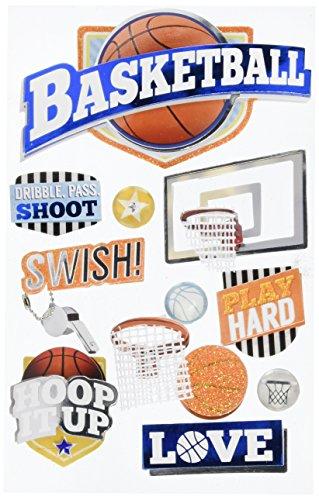 Aufkleber Basketball (Unbekannt Papier House 3D Aufkleber Basketball Swish, Acryl, Mehrfarbig, 3-teilig)