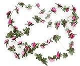 Vi. yo-Rose, Blumen, Glyzinie, für Valentinstag, Zuhause, Hochzeit, Garten, Deko, Seide, rote rose, 2,5 m