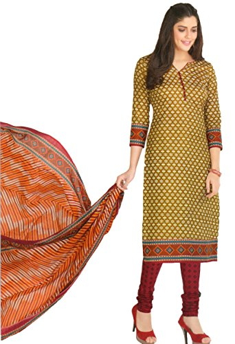 Rajasthani ( ISO Certified ) Golden and Red Color Printed Pure Cotton...