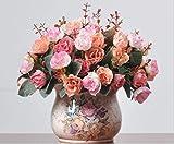 Lumenty 2Stück künstliche Seidenblumen Rosen Bouquets Geschenke Hochzeit Party Wohnkultur - Jede mit 7 Zweigen, 21 Köpfe Kunstblumen Vintage Pflanzen - Pink, rose, Rosa