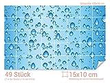 GRAZDesign 766047_15x10_70 Fliesenaufkleber Wasser - Tropfen für Kacheln | Wand-Deko für Bad/Küchen-Fliesen (Fliesenmaß: 15x10cm (BxH)//Bild: 105x70cm (BxH))