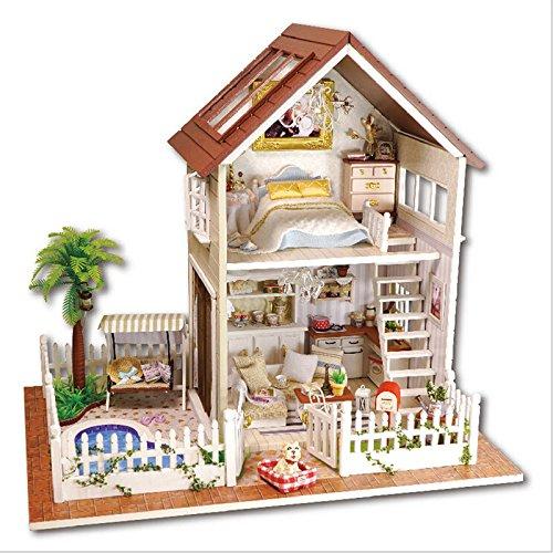 DIY Wooden Dolls House Handcraft Miniature Kit-Pair apartment Model & Furniture