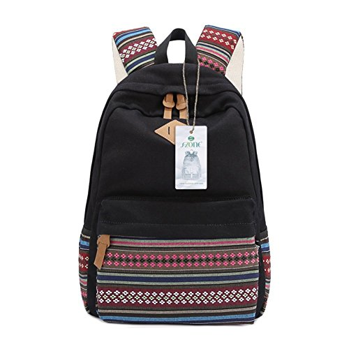 S-ZONE Damen Plaza Vintage Canvas Rucksack f¨¹r Outdoor Camping Picknick Au?flug Sports Universit?t 14-15 Zoll Laptop Schuletasche