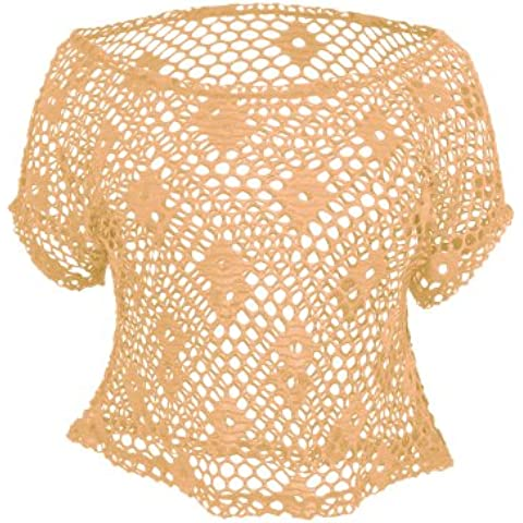 Urban Classics TB689 Ladies Short Mesh Top Maglia Regular Fit Donna S Neon Orange Arancio