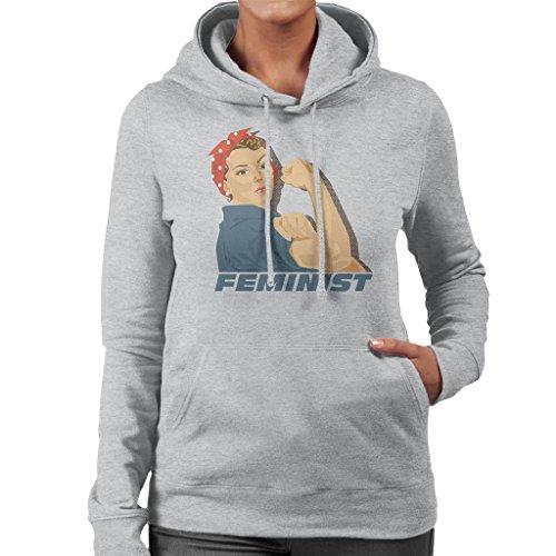 Coto7 Rosie Riveter Feminist Women's Hooded Sweatshirt