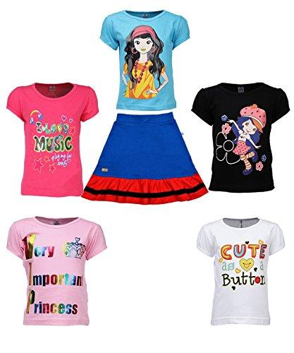 Gkidz Girls Multicolor Cotton T Shirts and Girls Cotton Skirts (JG5PCKATT-1_N_GSKRT-15-RYL-2-3Y_Multi Color_2-3 Years)