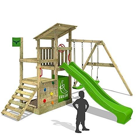 FATMOOSE Klettergerüst FruityForest Fun XXL Spielturm Kletterturm Beach-House auf 3 Ebenen schrägem Holzdach, Schaukel mit 2 Sitzen, Rutsche und viel