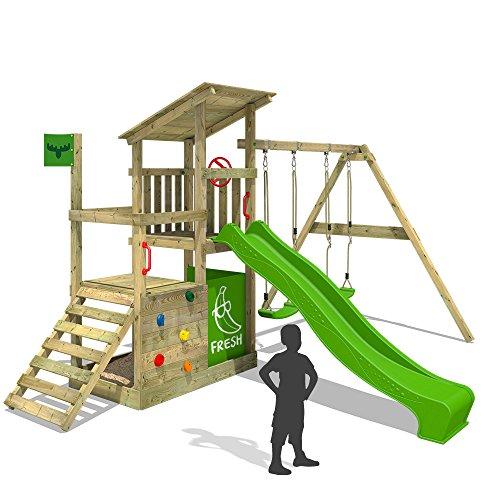 Preisvergleich Produktbild FATMOOSE Klettergerüst FruityForest Fun XXL Spielturm Kletterturm Beach-House auf 3 Ebenen schrägem Holzdach, Schaukel mit 2 Sitzen, Rutsche und viel Zubehör