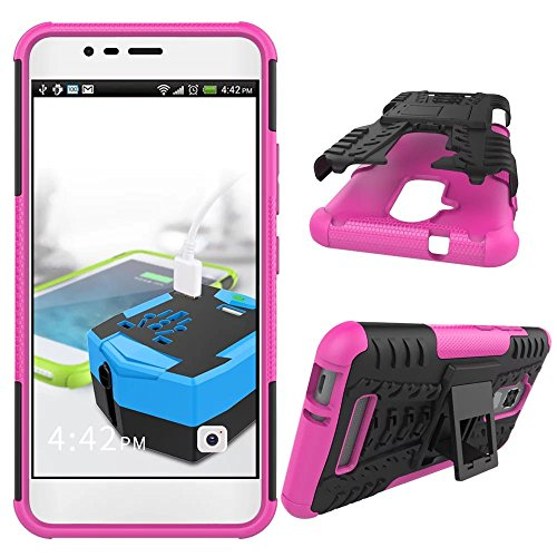 YHUISEN ZenFone 3 Max Case, Hyun Pattern Dual Layer Hybrid Armor Case Abnehmbar Kickstand 2 In 1 Shockproof Tough Rugged Case Cover für Asus ZenFone 3 Max ZC520TL ( Color : Purple ) Pink