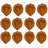 FASHIONFRAME® Diyas For Diwali/Traditional Earthen Clay Diyas/Deepawali Diyas/Handmade Diyas/Decorative Diyas/Multicolor Diyas Set Of 12 Pieces