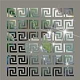 Hippicity Acryl-Spiegel-Wandaufkleber, Geometrisches Muster, griechisches Muster, Acryl-Kunststoff, Wanddekoration, 10 x 10 cm Silber