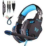 Mengshen Over-Ear Gaming Kopfhörer - mit Mikrofon, Bass Vibration, Rauschunterdrückung Surround-Sound und Lautstärkeregler für PC, Laptop, Mac, PS4, Xbox One - G2100 Blue
