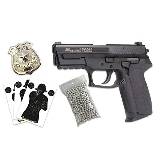 CyberGun Pack French Police sig sauer sp2022-Airsoft spring Gun 6mm with  accessories- 0 5 Joule -Color black-