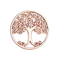 U&D Women�??s Pendants Tree of Life 25mm Coin Rosegold Plated For Interchangeable Coin Pendant Necklace