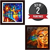 Story@Home Exclusive Matte Textured 2 Pc Combo Wall Art Framed Painting With Flower Wall Art And Buddha Wall Art Pictures