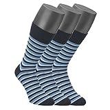 Jockey® Casual Stripe Socken 3er Pack, Blau gestreift, Größe 9-11 (EU 43-46)