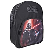 PERLETTI - Star Wars Kids Backpack - Boys School Bag with Front Pocket - Darth Vader Print - Small Rucksack for Elementary and Kindergarten - Adjustable Shoulder Straps - 30x22x8 cm - Black