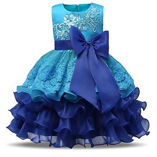 NNJXD Mädchen Rüschen Vintage Bestickt Pailletten Blume Hochzeitskleid Größe(110) 3-4 Jahre Blau