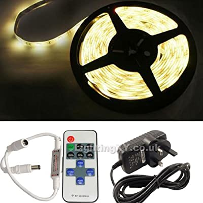 JnDee™ Full Kit WARM White 5 Metres DIMMABLE LED Strip Tape +Transformer /Power Supply + RF Wireless Dimmer Flasher with Remote Control