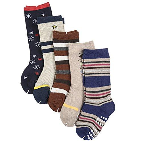 Happy Cherry 5 Paar Baby Kleinkind Jungen Rutschfest Strümpfe Socken Set Baumwolle - Gestreift Schneeflocke Pattern